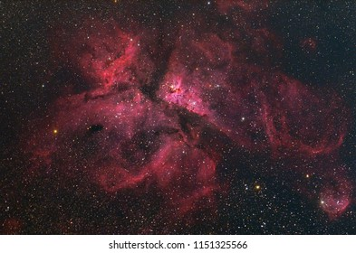 Eta Carinae Nebula with Galaxy,Open Cluster,Globular Cluster, stars and space dust in the universe and Milky way taken by dedicated astrophotography camera on telescope.
