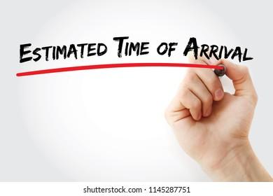 ETA - Estimated Time of Arrival acronym, business concept background