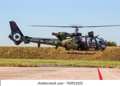 ETAIN, FRANCE - AUG 24, 2016: French Army Aerospatiale SA342M Gazelle helicopter taking off.
