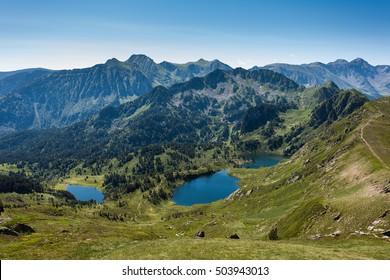 Etang Noir, etang Bleu and Etang de Rabassoles - Pic du Tarbesou in Pyrenees, Arieges, France