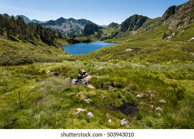 Etang Noir and Pic du Tarbesou in Pyrenees, Arieges, France
