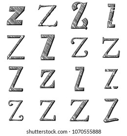 Etched silver metal letter Z set in multiple various assorted fonts in a 3D illustration with a rough scratched and damaged shiny metal chrome style on a white background
