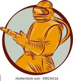 Etching engraving handmade style illustration of a sandblaster worker holding sandblasting hose wearing helmet visor viewed from front set inside circle on isolated background.