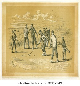 Etching from Golfing - A Handbook to The Royal And Ancient Game published by W&R Chambers Edinburgh and London, 1887. Illustration by Ranald Alexander.