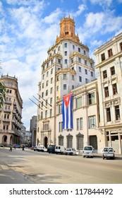 Etecsa building in Historic center of Havana. Cuba.