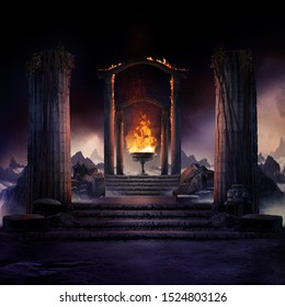 The eternal fire, dark atmospheric landscape with stairs to ancient columns and font of fire, fantasy background - Shutterstock ID 1524803126