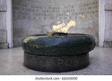 The eternal flame in Sarajevo is a memorial to the military and civilian victims of the Second World War in Sarajevo, Bosnia and Herzegovina. On Ferhadija street, it was opened on 6th April 1946.