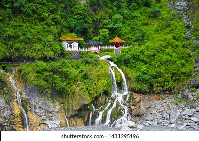 Eternal Spring Shrine, also called Changchun Shrine, landmark and a memorial shrine complex in Taroko National Park in Taiwan. The Shrine is located right above the waterfall streams. Tropical forest.