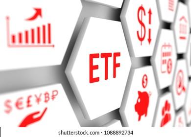 ETF concept cell blurred background 3d illustration