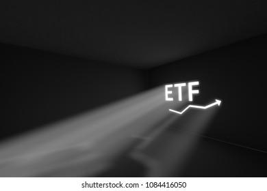 ETF rays volume light concept 3d illustration