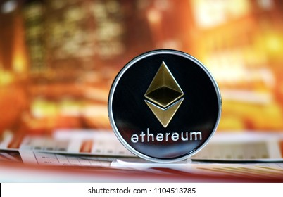 eth Ethereum on colorful background