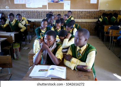 Ethalaneni Primary School, KwaZulu Natal, South Africa - 16 April 2016 : Overcrowding is still a major problem in many rural South African schools, with learners having to share desks in many classes.