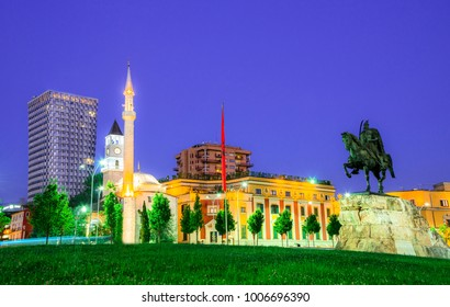 The Et'hem Bey Mosque in Skanderbeg Square, at night, Tirana - Albania