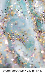 Ethereal Fluffy Blue Clouds with Glitter Background