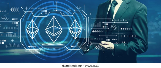 Ethereum with businessman holding a tablet computer