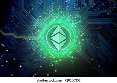 A ethereum classic cryptocurrency in hologram coin form hovvering over a computer circuit board