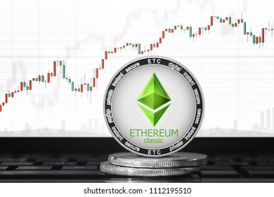 Ethereum Classic (ETC) cryptocurrency; ethereum classic coin on the background of the chart