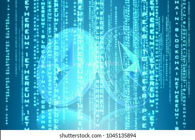 Ethereum coin (ETH) with futuristic background. hud backgroud . most popular coin in the world. background design. iu interface future. - Shutterstock ID 1045135894