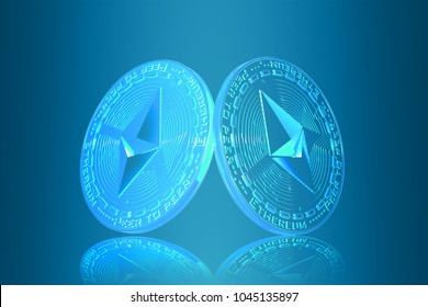 Ethereum coin (ETH) with futuristic background. hud backgroud . most popular coin in the world. background design. iu interface future. - Shutterstock ID 1045135897