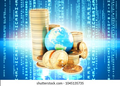Ethereum coin (ETH) one of most popular and best cryptocurrency and symbol of world , stack of ethereum coin with globe or earth. high level chart value every year - Shutterstock ID 1045135735