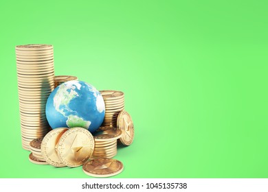 Ethereum coin (ETH) one of most popular and best cryptocurrency and symbol of world , stack of ethereum coin with globe or earth. high level chart value every year - Shutterstock ID 1045135738