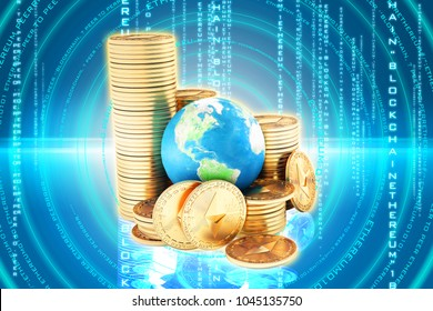 Ethereum coin (ETH) one of most popular and best cryptocurrency and symbol of world , stack of ethereum coin with globe or earth. high level chart value every year , futuristic background - Shutterstock ID 1045135750