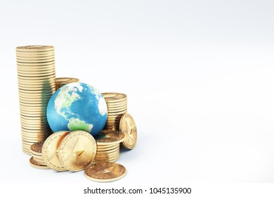 Ethereum coin (ETH) one of most popular and best cryptocurrency and symbol of world , stack of ethereum coin with globe or earth. high level chart value every year , futuristic background - Shutterstock ID 1045135900
