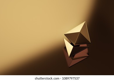 Ethereum coin logo over abstract gold background. 3D render.