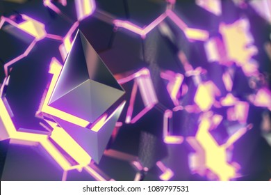 Ethereum coin logo over hot collapsing surface. 3D render.