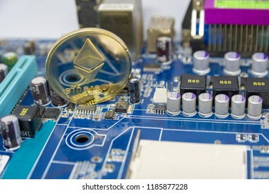ethereum coin on the computer mainboard