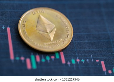 Ethereum coin on price chart background. Fall of ethereum price concept.