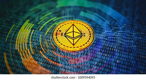Ethereum Crypto Currency Abstract Background. 3D illustration