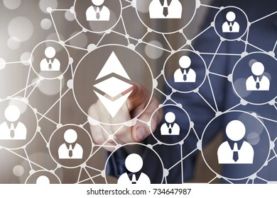 Ethereum crypto currency coin. Business button ethereum.