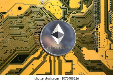 ethereum. Crypto currency ethereum. ethereum coin on exchange charts. e-currency etherium on the background of the circuit board