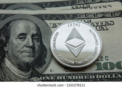 ethereum. Crypto currency ethereum. ethereum coin on exchange charts. e-currency ethereum on the background of the dollars