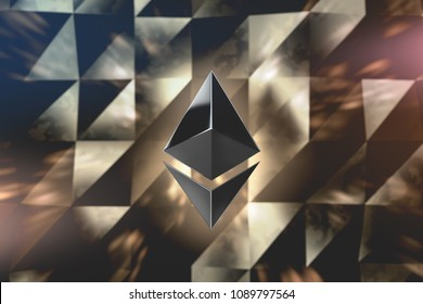 Ethereum crypto currency logo over abstract low poly background. 3D render.