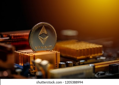 Ethereum crypto currency on a computer motherboard