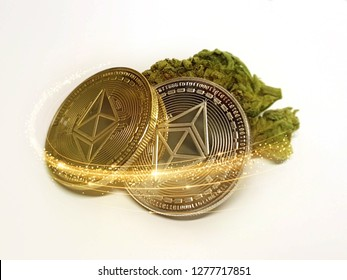 Ethereum Cryptocurrency coins with Cannabis weed on isolated background with light effect, darknet concept