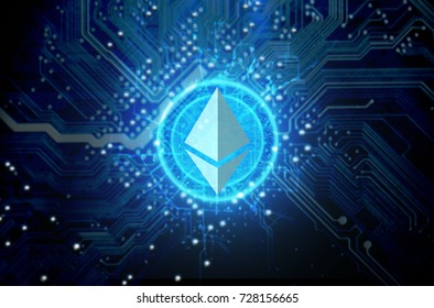 A ethereum cryptocurrency hologram coin form hovvering over a computer circuit board