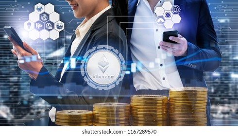 Ethereum and cryptocurrency investing concept - Businessman using mobile phone application to trade Ethereum ETH with another trader in modern graphic interface. Blockchain and financial technology.