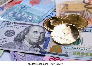 Ethereum cryptocurrency on mixed bank note currencies