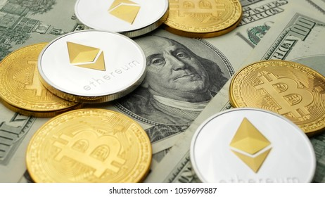 Ethereum ETH coins and Bitcoin BTC coin rotating on bills of 100 dollars