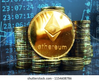 Ethereum ETH coins. Crypto stock exchange concept.