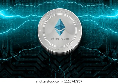 Ethereum (ETH) digital crypto currency. Stack of silver ether coins on the background of lightning. Cyber money.