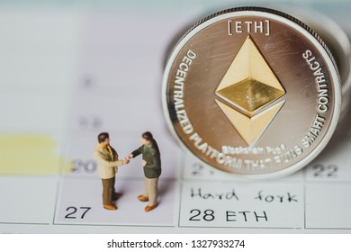 Ethereum (ETH) hard fork ,Concept ETH minig, cryptocurrency calendar hard fork,ETH,BTC,XRP,LTC,EOS,BCH
