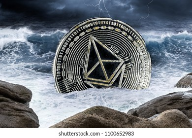 ethereum ether crisis crypto coin currency finance market crash concept sinking in ocean thunderstorm background