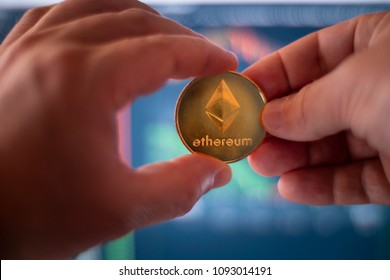 Ethereum Ether ETH Crypto Currency Token Altcoin Digital Money Two Person Financial Transaction Concept
