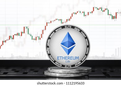 Ethereum Lite (ELITE) cryptocurrency; ethereum lite coin on the background of the chart