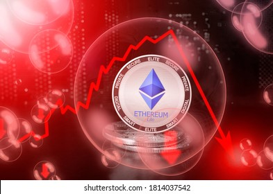 Ethereum Lite ELITE in a soap bubble. Risks and dangers of investing to Ethereum Lite cryptocurrency. Collapse of the exchange rate. Unstable concept. Down drop crash bubble