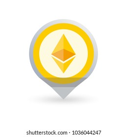 Ethereum logo. Cryptocurrency icon in the shape of map pointer or marker. Crypto coin logotype. Net banking sign. International money or currency.